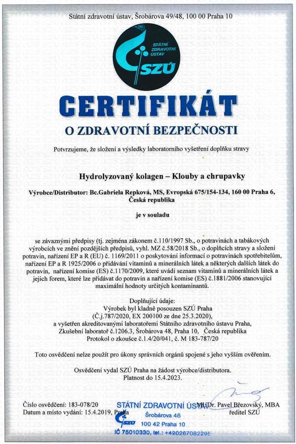Startes Hydrolyzovany kolagen Klouby a chrupavky CZ certifikat